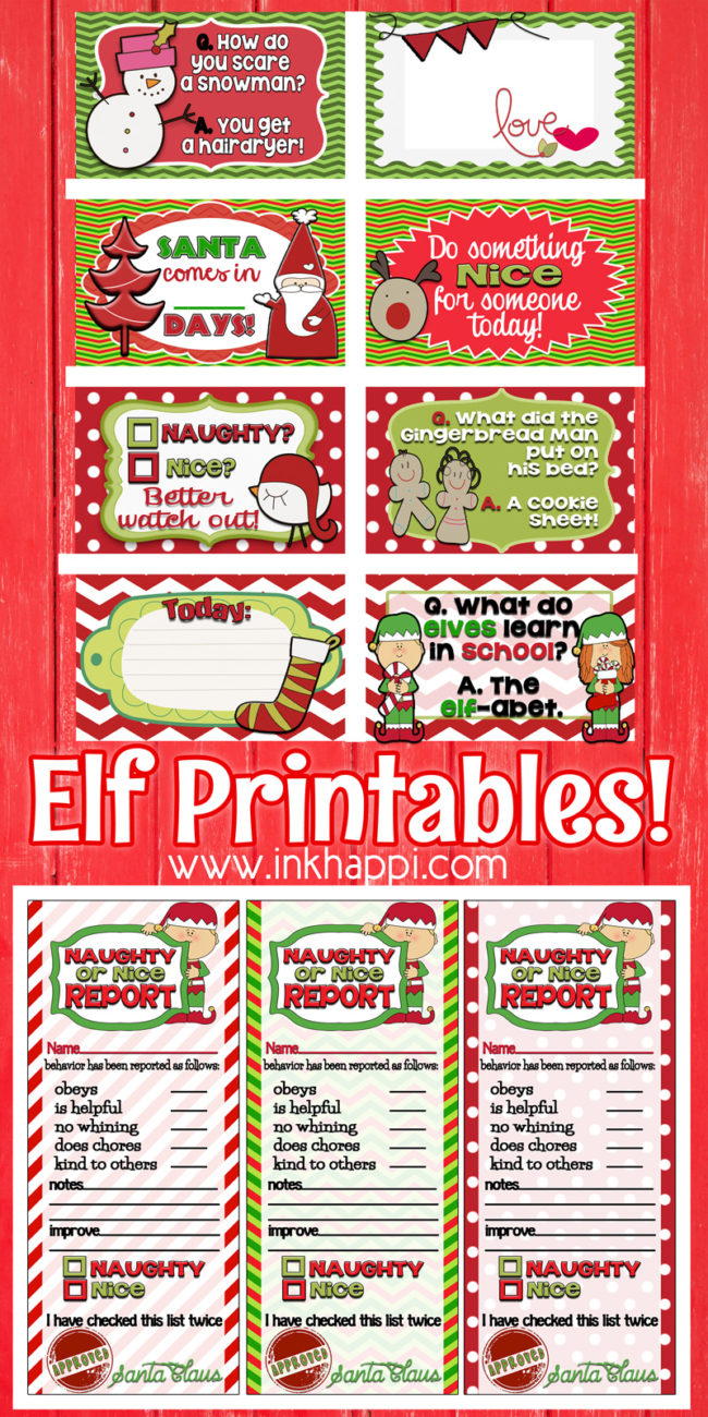 Elf Report Card Plus More Holiday Printables And A