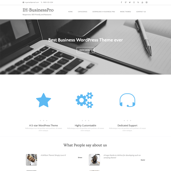 IH Business Pro WordPress theme - Built on Bootstrap 4 - Inkhive.com