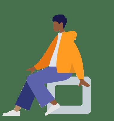 Sitzender Mann in gelber Kapuzenjacke, schlichte Grafik