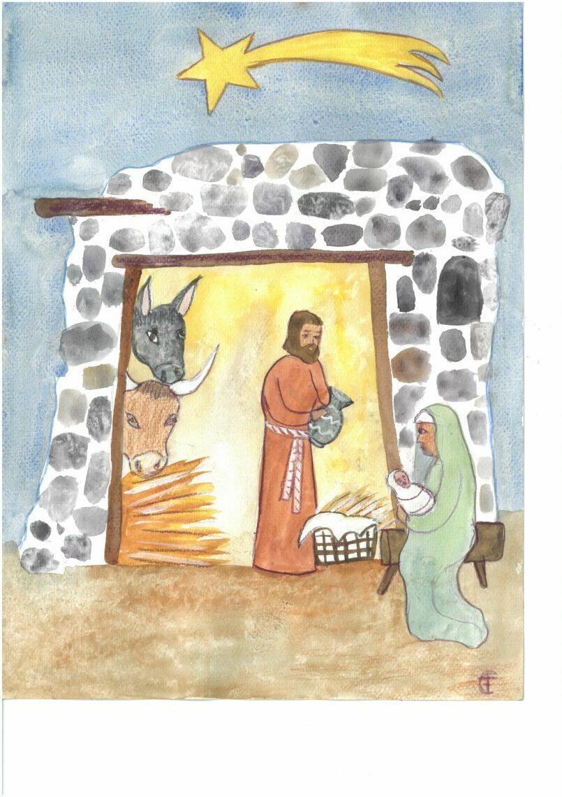 Stall aus Steinen. Links Ochse und Esel, die zum Kind gucken. Maria sitzt rechts vor dem Stall und hält das Kind im Arm. Josef hält einen Krug in der Hand und steht in der Mitte im Stall. Über dem Stall der Stern.