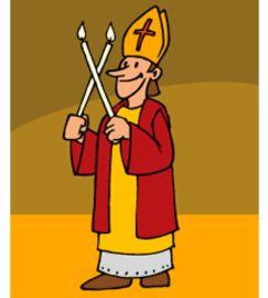 Grafik im Comicstil eines freundlichen Bischofs mit gekreuzten Kerzen