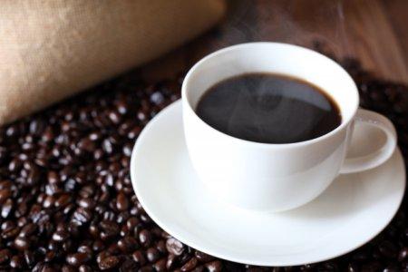 コーヒー豆を背景にしたホットコーヒーの写真