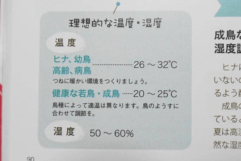 はじめてのインコの飼い方・育て方より適切な温度管理について