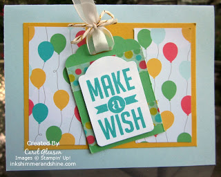 Birthday card using Make a Wish stamp and Cherry on Top DSP