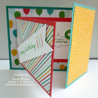 Fancy Fold card using Cherry On Top paper and lots of bright colors.
