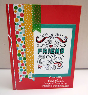 Friend card with Cherry On Top banners. Stamp is colored with markers.