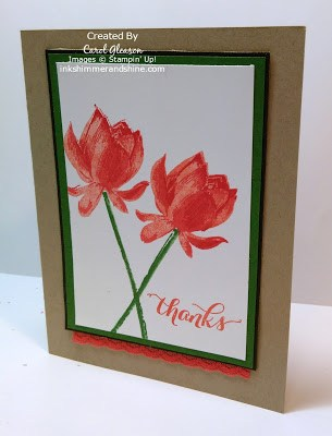 Thanks Lotus Blossom card in Watermelon Wonder, Calypso Coral, Garden Green and Early Espresso