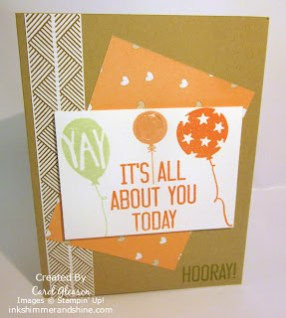 Birthday card CASE with Stampin' Up! Balloon Bash and Hooray It's Your Day stamps