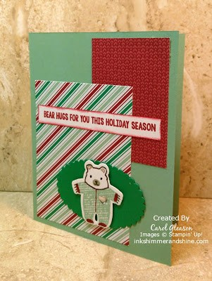 Photo of Baby Bear Christmas card with Stampin' Up! Presents & Pinecones paper & Fa-La-La-La Friends stamps