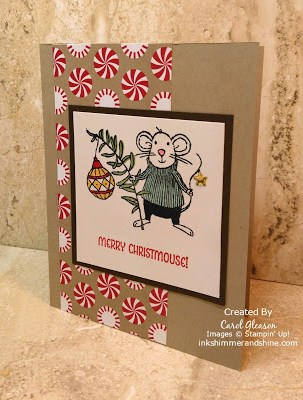photo of a Christmas card featuring the Merry Mice stamp set and Candy Cane Lane paper from Stampin' Up!