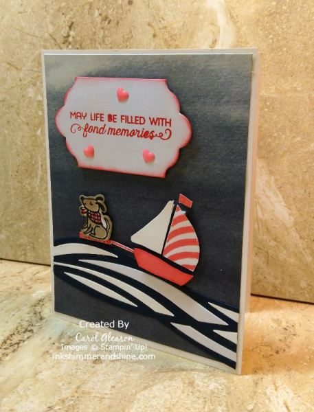 Cute little dog riding the waves behind the sailboat. Stampin' Up! Bike Ride and Swirly Bird stamp sets