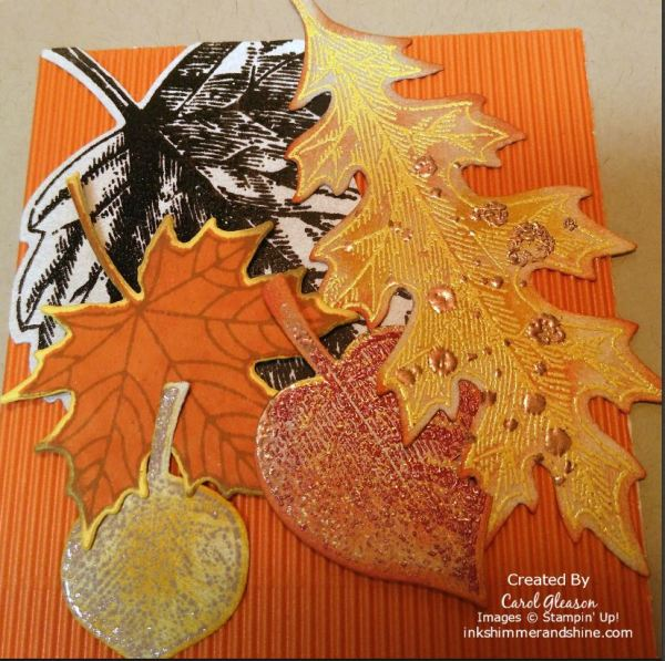 World Cardmaking day Fall card with a Crumb Cake base and man leaves stamped, heat-embossed and die-cut, then layered on a corrugated Pumpkin Pie background.