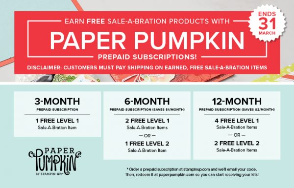 Paper Pumpkin Sale-a-Bration Rewards Chart