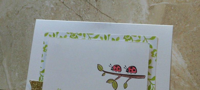 Always Here for You encouragement card with two ladybugs