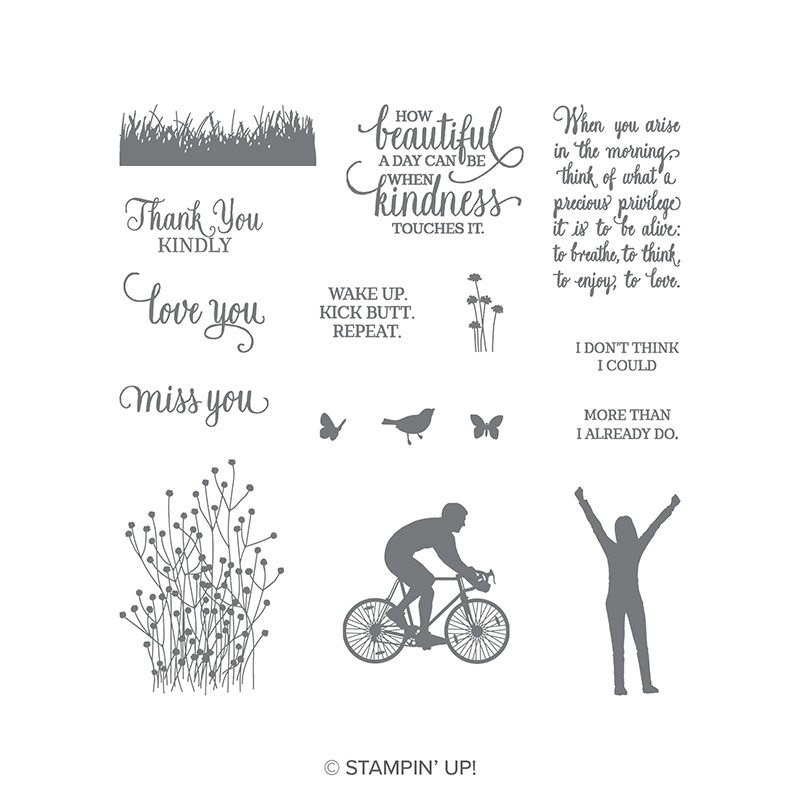 Images and sentiments in the Enjoy Life stamp set include a bird, butterfly and bicycle, Thank You kindly, and Wake Up. Kick butt. Repeat.