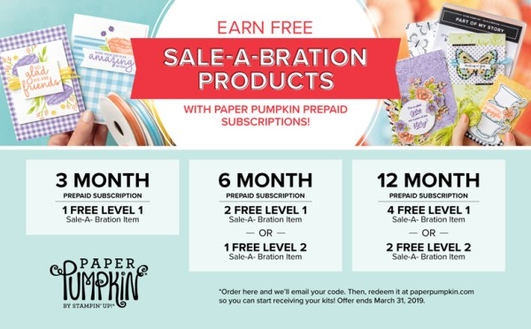 Subscription details for free products with Paper Pumpkin prepaid subscriptions