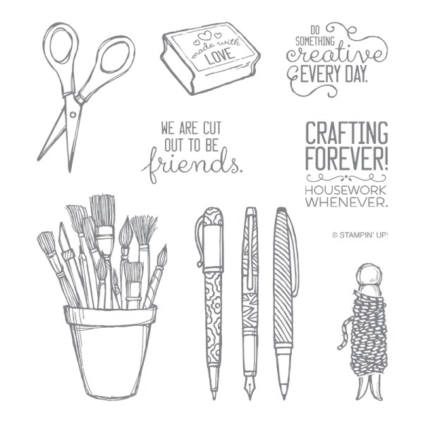 Crafting Forever stamp set images include pens, paintbrushes, twine and scissors, along with 3 sentiments.