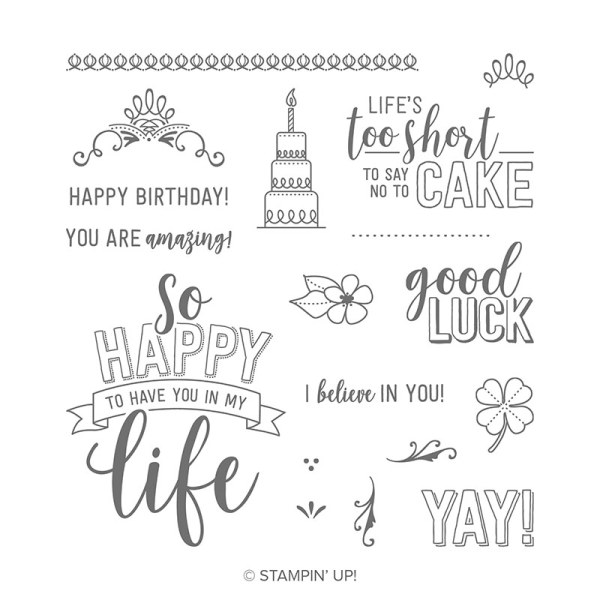 Sentiments and images in the Amazing Life stamp set