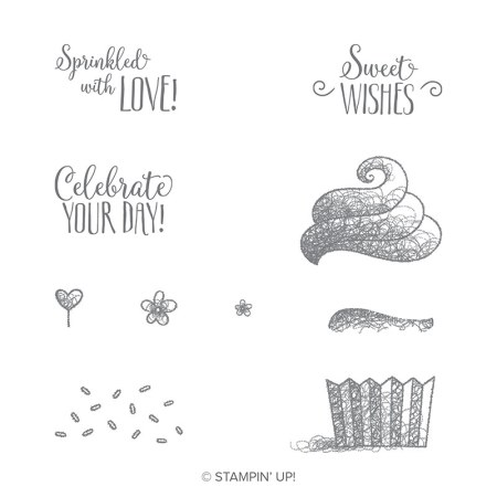 The Stampin' Up! Hello Cupcake stamp set has all the images to create a cute cupcake as well as the greetings Sprinkled with Love, Sweet Wishes and Celebrate your Day.