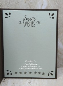 Hello Cupcake Card - inside with Sweet Wishes, small flowers and the Detailed Trio punch by Stampin' Up!