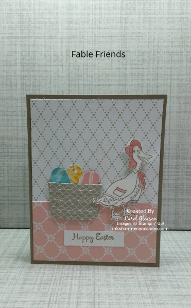 Easter card with duck from Fable Friends and a basket of Easter eggs.