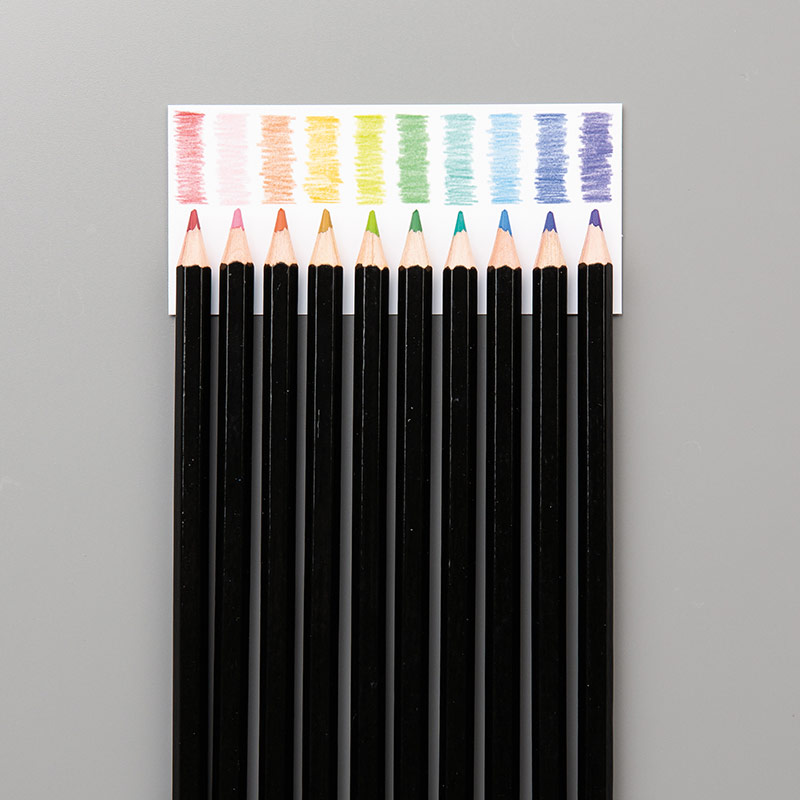 10 smooth colored pencils in Stampin' Up! colors: Balmy Blue, Cajun Craze, Cherry Cobbler, Coastal Cabana, Crushed Curry, Flirty Flamingo, Garden Green, Gorgeous Grape, Granny Apple Green, Night of Navy