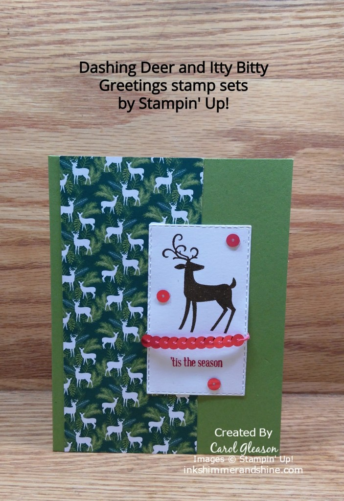 'Tis the Season greeting with Dashing Deer stamped image for an easy Christmas card