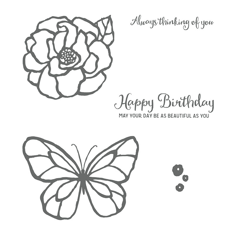 The Beautiful Day stamp set includes a large flower and butterfly that are perfect for coloring. There are two sentiments: 'Always thinking of you,' and 'Happy Birthday. May your day be as beautiful as you.'