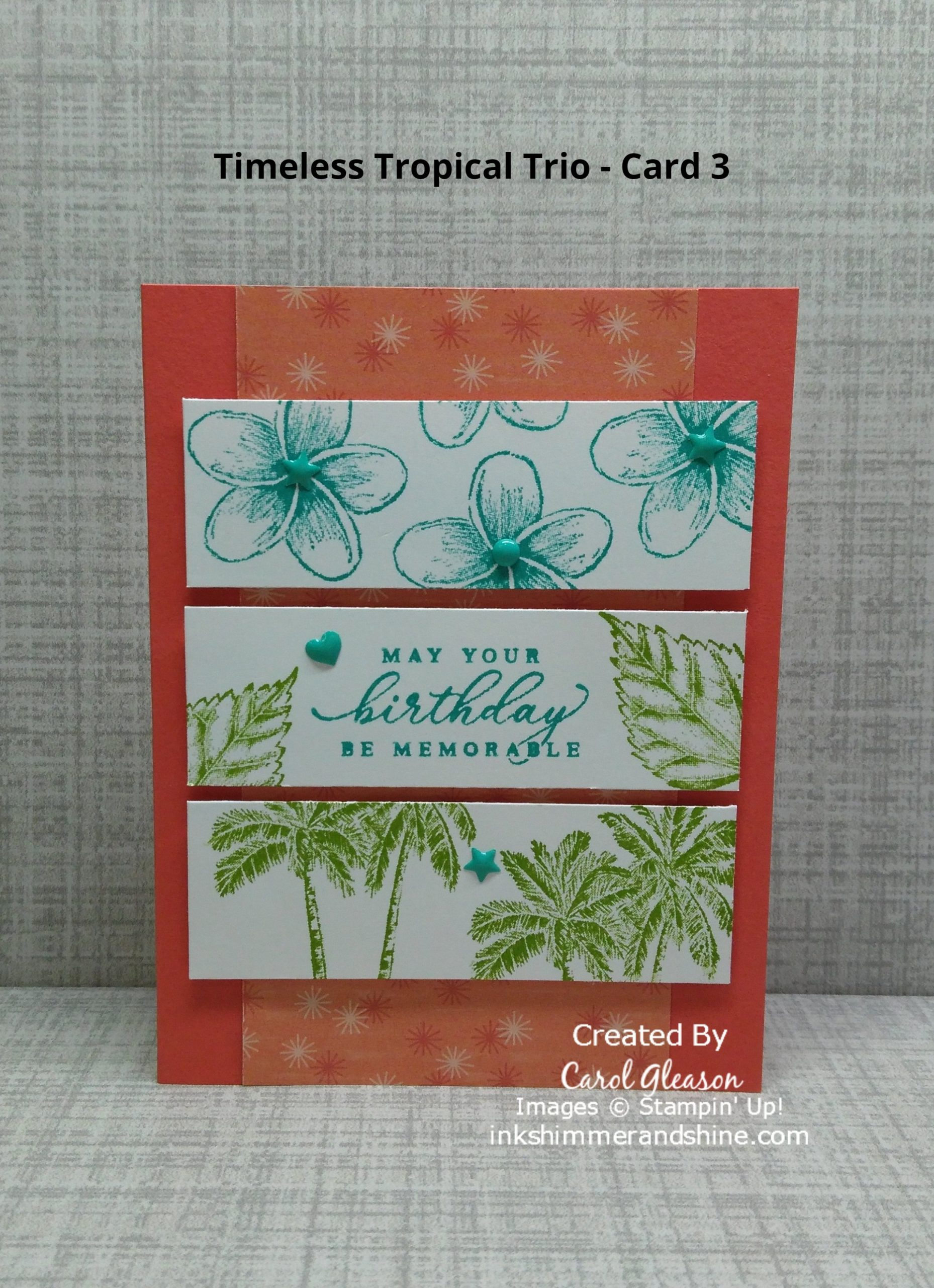 Tropical flowers, leaves and palm trees from the Timeless Tropical stamp set stamped in Bermuda Bay and Granny Apple Green ink on three horizontal white cardstock pieces.
