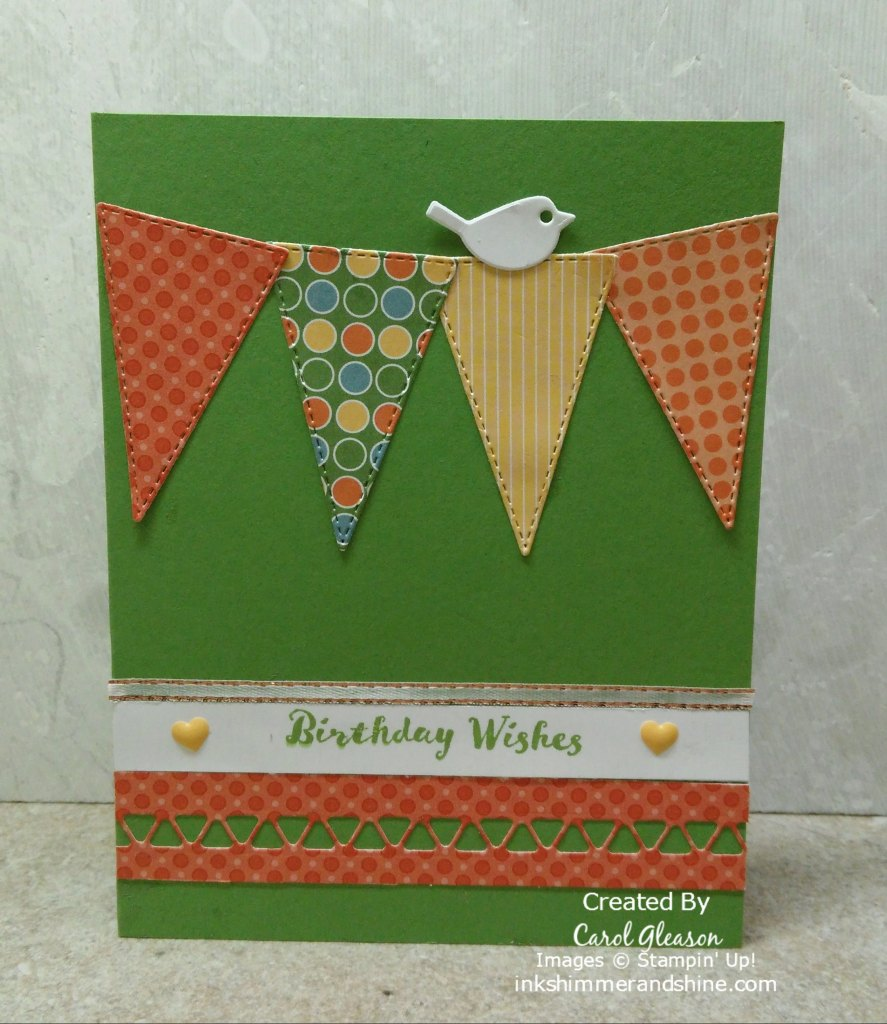 A simple banner made from pretty patterned paper die cut with the Stampin' Up! Stitched Triangles Dies makes this a quick birthday card.