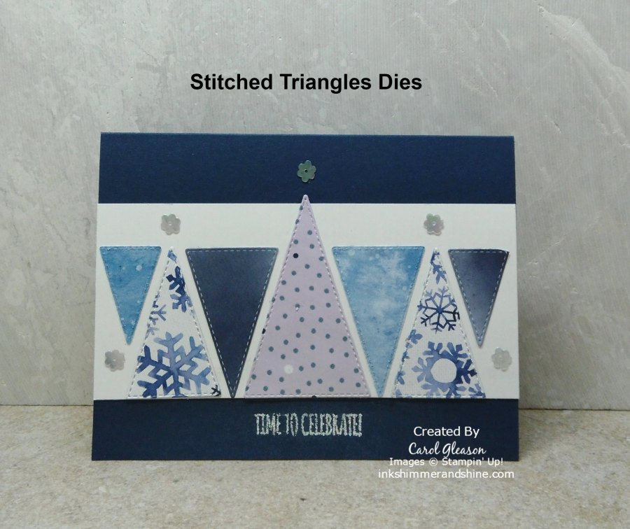 Blue and white celebratory card with triangular tree shapes die cut with the Stampin' Up! Stitched Triangles Dies.