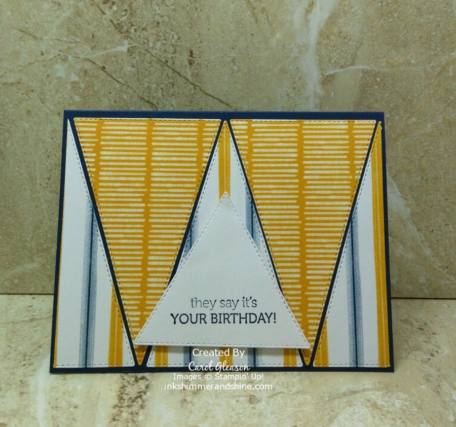 A more masculine birthday card created with the large isosceles triangle dies in the Stitched Triangles Dies set from Stampin' Up! The patterned paper is called Playing With Patterns. The birthday greeting is from Stampin' Up's Itty Bitty Birthdays stamp set.