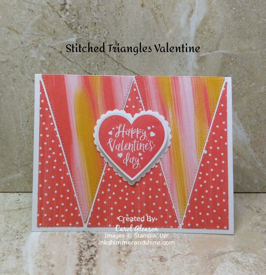 Sweet Valentine in Calypso Coral and Crushed Curry patterns from the Stampin' Up! Playing with Patterns Designer Series Paper. The background is created with the Stitched Triangles Dies. The heart and valentine greeting are from the Heartfelt Bundle.