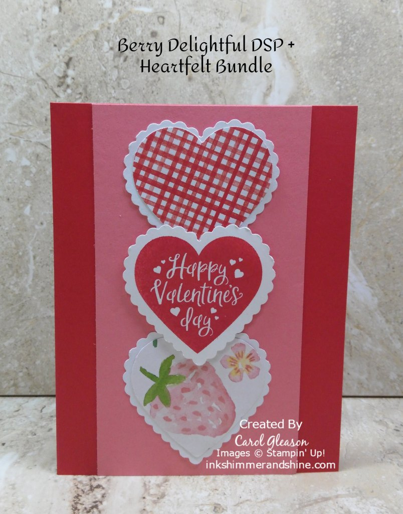 Valentine Card with a Poppy Parade cards base and a Flirty Flamingo layer. 3 hearts are punched with the Heart Punch Pack, overlapped and centered on the Flirty Flamingo layer.