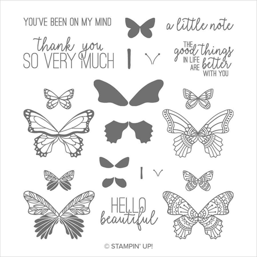 The Butterfly Gala stamp set images and sentiments for creating the Good Things in Life card. The sentiments include 'Hello Beautiful', 'Thank you so very much', 'You've been on my mind', 'a little note', and 'The good things in life are better with you.'