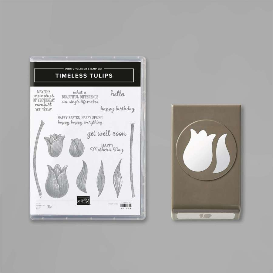 The Timeless Tulips stamp set used on the inside of The Good Things in Life card and its coordinating Tulip Builder punch . These products are available as a bundle with 10% savings until May 3, 2021. The sentiment used inside this card is 'What a beautiful difference one single life makes.'