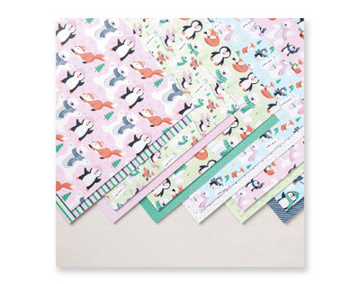 The double-sided Penguin Playmates Designer Series paper features penguins, polar bears, foxes and snowmen. The second side has stripes, trees and other patterns that can be used for all occasions. Choose it as a free item with your qualifying order during Sale-a-Bration!