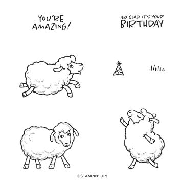 Sale-a-Bration Sheep: Counting Sheep stamp set with 2 sentiments and 3 sheep images.