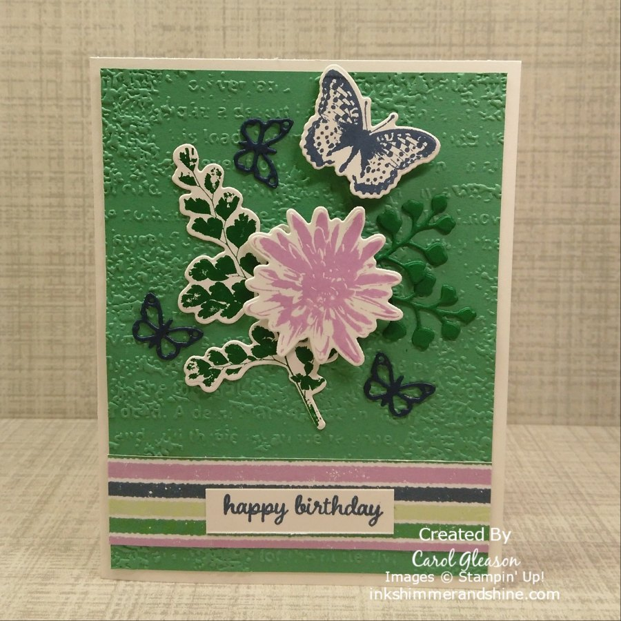Penguin Playmates Day 3: Positive Thoughts, and Nature's Thoughts Dies create this birthday card design. For a lovely textured background, emboss the Just Jade cardstock with the Timeworn Type embossing folder, then add coordinating striped paper.