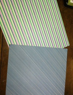 Penguin Playmates Designer Series Paper Side 2 features stripes, trees and other patterns suitable for both non-traditional colored Christmas cards and many other occasions