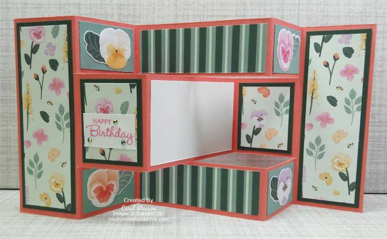 Trifold Shutter Card with matted Pansy Petals Designer Series Paper.