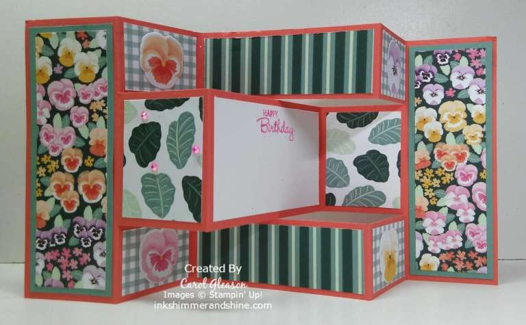 Trifold Shutter Card with Pansy Petals Designer Series Paper.