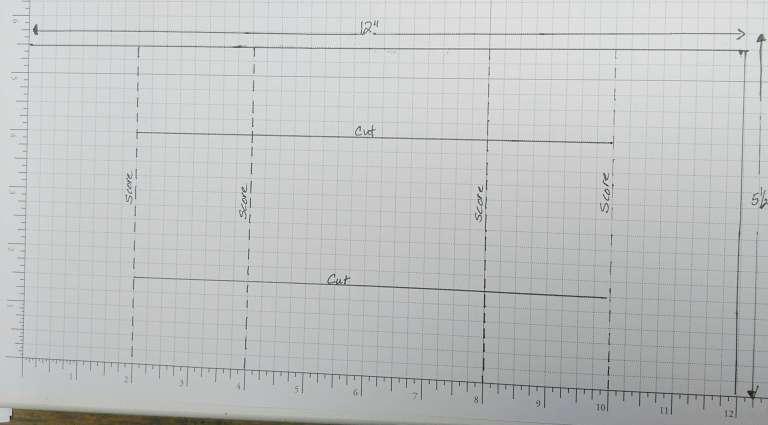 Trifold Shutter Card cutting and scoring diagram.