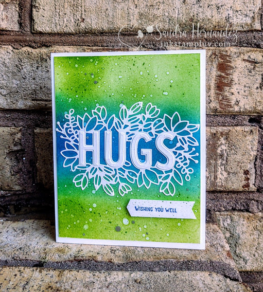 Sending Hugs card with blended background