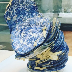 Delft blue dishes melted together