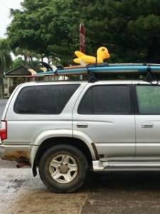 Duck surfboard on Kauai Island