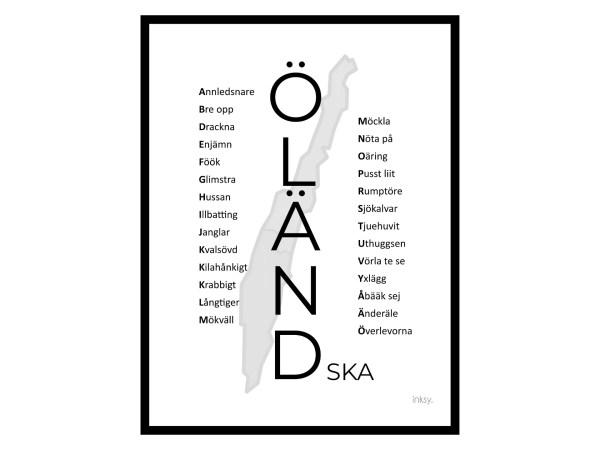 Öländska svart Öland poster tavla dialekt
