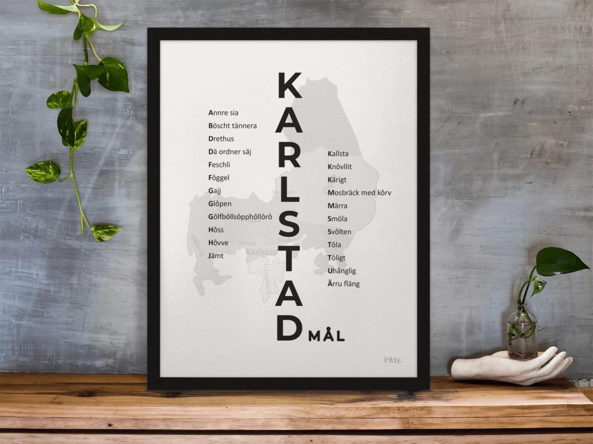 Karlstad Karlstadmål Värmländska poster tavla dialekt