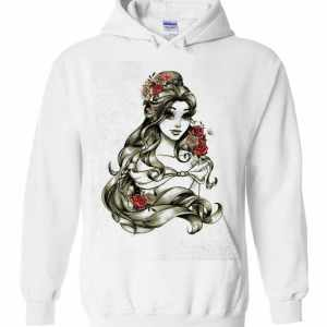 Disney Beauty and The Beast Belle Drawing Rose Graphic Hoodies