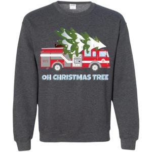 Funny Firefighter Christmas Gifts - Oh Christmas Tree Sweatshirt